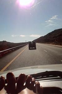 Sarah driving ahead of us