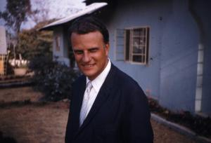 Billy Graham in front of SIM posed just for me